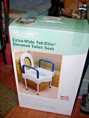 Ableware Extra Wide Tall Ette Elevated Toilet Seat W  / Legs Nib