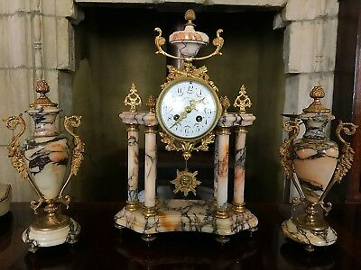 Late 19th Century French Marble And Ormolu Portico Mantle Clock Garniture Set