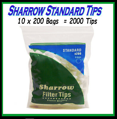 10 Bags Sharrow Standard Cigarette  Filter Tips (2000 Tips)   Cheapest On Ebay