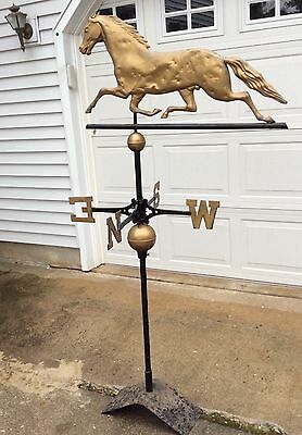 AUTHENTIC 1880s GOLDEN GILTED COPPER HORSE WEATHERVANE,NEWS/2 Spheres/ IRON Pole