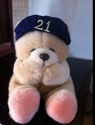 Forever Friends Soft Toy 21st Birthday In Blue Cap Sits 6 Inches High