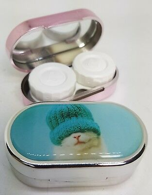 Rachael Hale Mirror Case Contact Lens Soaking Storage Case UK MADE - Kitten Hat