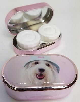 Rachael Hale Mirror Case Contact Lens Soaking Storage Case UK MADE - Dog In Hat