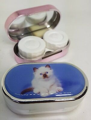 Rachael Hale Mirror Case Contact Lens Soaking Storage Case UK MADE - Fluffy Cat