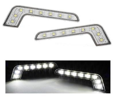 Bright White LED L Shape Mercedes Style DRL Day Running Lights Units for Jaguar