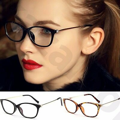 Womens Ladies Clear Lens Slim Oval Rectangle Shape Rhinestone flower temples