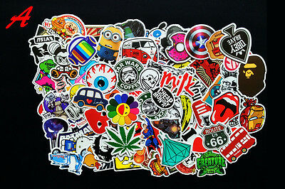 100 Pcs Skateboard Vinyl Sticker Skate Graffiti Laptop Luggage Car Bomb Decals