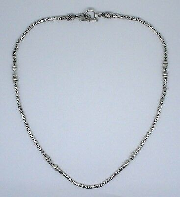 BYZANTINE STATION NECKLACE Solid 925 Sterling Silver  20 Inch 36 gm 3 mm #H3