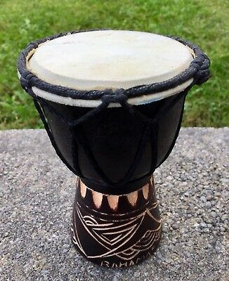 Djembe Small Bongo Percussion Wooden Carved Handmade Drum !