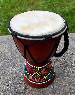 Djembe Small Percussion Hand Drum Wooden Bongo Painted Design!