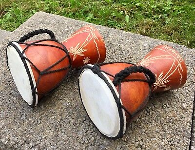 Djembe 2 Small Percussion Drum Lot Wooden Bahamas Carved Kids Hand Drum!