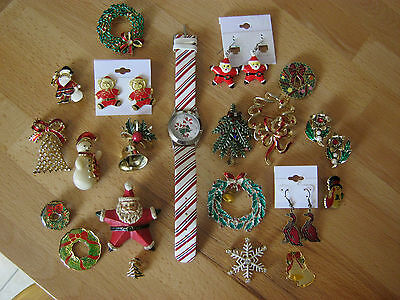 Christmas lot of 21 jewelry pieces, 14 brooches, 2 pins, 4 earrings, 1 watch