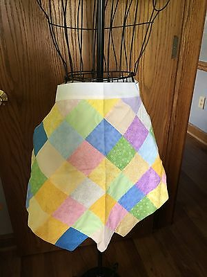 Quilt Square Pastel Colors Quilted Half Apron