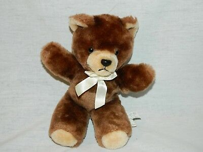 "VTG Eden 9"" plush Chocolate Brown Teddy Bear with Cream Ribbon Stuffed"