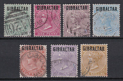 British Commonwealth Gibraltar First Issue Overprint set of 7v. Very High CV.