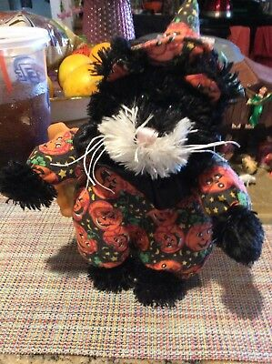 "VTG HALLOWEEN BLACK CAT RARE STUFFED ANIMAL CUTE 10""tall"