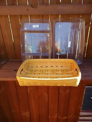 Longaberger 2001 Serving Tray Basket w 2 Hard Protector Combo