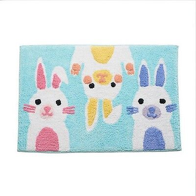 New Bunny Kids Rug Nursery Room Bath Mat Bunnies Rabbit Cotton Washable