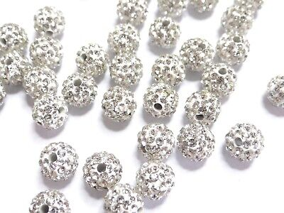 04-CRYSTAL - 5 Perle Shamballa 10mm ronde blanc argile Polymere strass