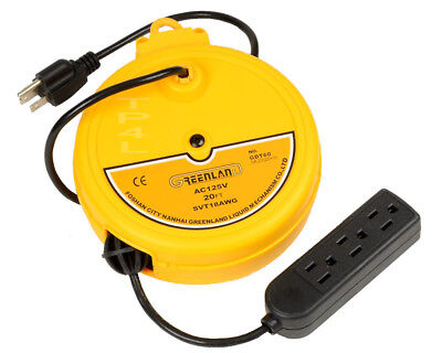 Retractable Reel Outlet Cord Cable Reel 20 Ft Retractable Metal Cord Reel