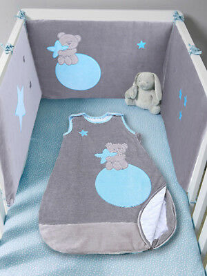 Les Kinousses Baby Cot Cotbed Bumper and Luxury Sleeping Bag - 4990 Blue