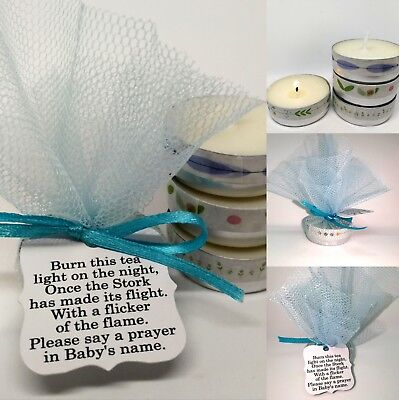 Blue Baby Shower Candle Tea Light Favours Guest Thank You Gifts