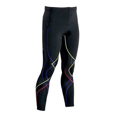 NEW! CW-X StabilyX Men's Running Tights 225809A-756 Black/Yellow/Blue/Red Large