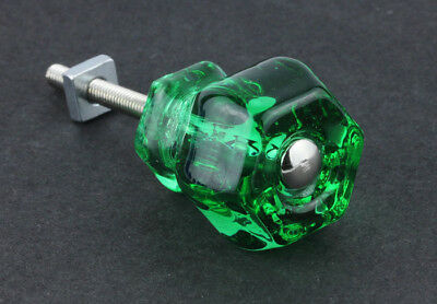 "Emerald Green Vintage Style Glass Knob ~ Drawer Pull Handle { 1 1/4"" Dia} by PLD"