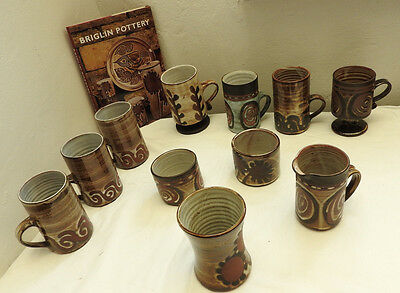 Collection Of Original Briglin Studio Pottery Mugs Cups Jug Vase Book Pots (4830