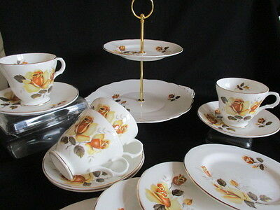 Vintage Sheridan china Tea set yellow roses 12 piece lovely condition Cake Stand