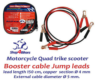 Motorcycle motorbike battery booster cable Jump leads suit Harley or cruiser