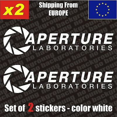 Set of 2 Aperture Science Laboratories Logo Vinyl Sticker Aufkleber Decal DieCut