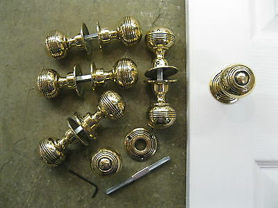 Pair of Georgian Reproduction Reeded Solid Brass Door Knobs & Roses REC09