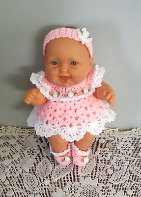 "HAND CROCHETED DOLL CLOTHES Fits 8"" Berenguer Berjusa Type Dolls Pink White"