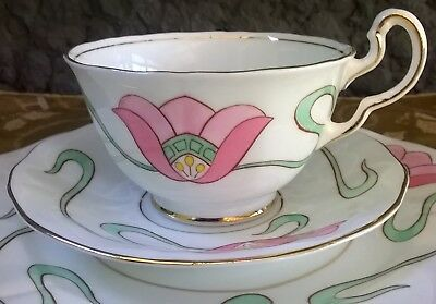 Art Nouveau Hand Painted Tulip Pattern Adderley England Trio Cup Saucer Plate