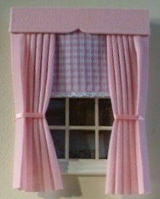 Dolls House Curtains Baby Pink With Gingham Blind