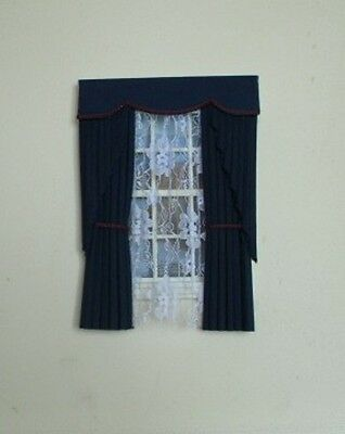 Dolls House Curtains Black  Swag Effect