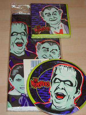 3p MUNSTERS Collector Party Set HERMAN Plates GRANDPA Napkins +Tablecloth SEALED
