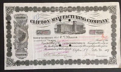 Clifton Manufacturing Company 1919 Stock Certificate cancelled