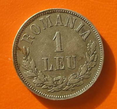 1 leu 1874 Romania silver HIGH Grade uncleaned lucky coin