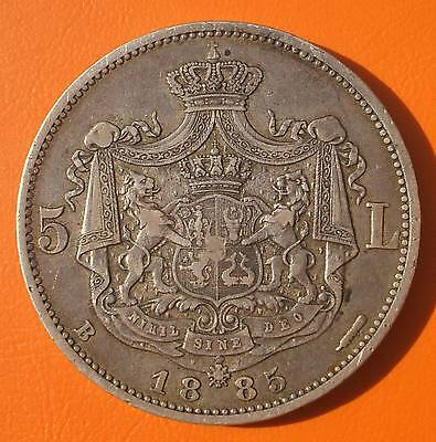5 lei 1885 Romania silver SCARCE 40.000 only PERFECT EDGE , BEST on EBAY 30% off