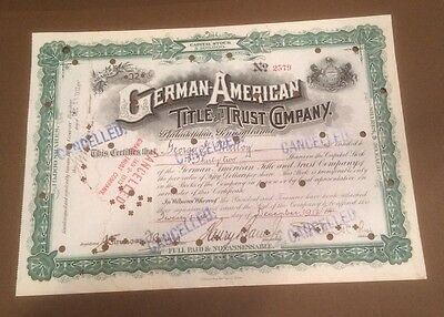 German-American Title and Trust Company 1912 32 shares