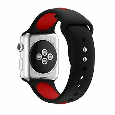 Smartwatch Band 42mm Silicone Strap for Apple Watch Series 3/2/1 Red/Black