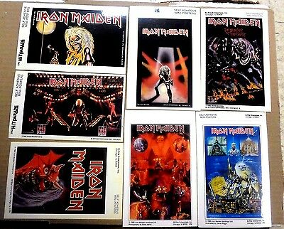 IRON MAIDEN 1982 Vintage SET of 7 MINI-POSTERS Self Adhesive MINT Scarce