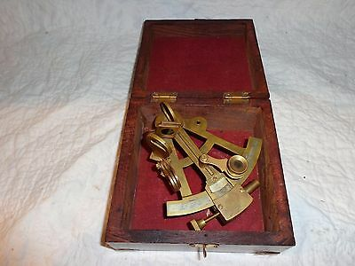 Vintage Nautical Brass Sextant with Original Wooden Box, Navigational