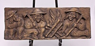 Wood Hand Carved Wall Plaque Vtg Folk Art South America Guatemala? Tribal 5 x 14