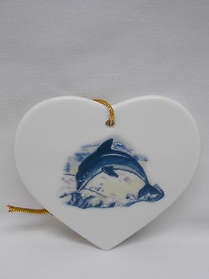 Single Dolphin  Porcelain Heart Shape Christmas Tree Ornament Fired  Decal