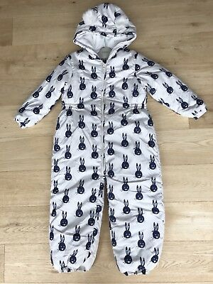 NEXT *5-6y GIRLS RABBIT PRINT PADDED WINTER SNOWSUIT Fleece Lined AGE 5 -6 YEARS
