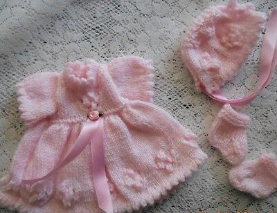 "Doll Clothes Hand-knit Pink Dress Set Fits 12"" Corolle Premie Mom Tiny Tears 11"""