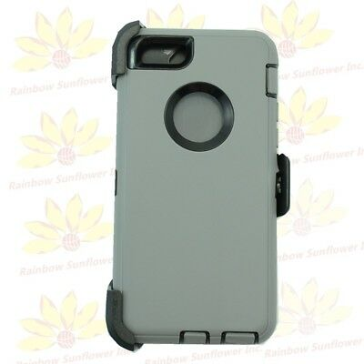 "For iPhone 6S Plus (5.5"") Case Defender w/(Clip fits Otterbox ) Gray Black"